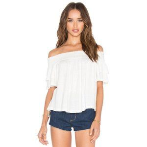 LA MADE White Flutter Sleeve Ribbed Top #ZC5